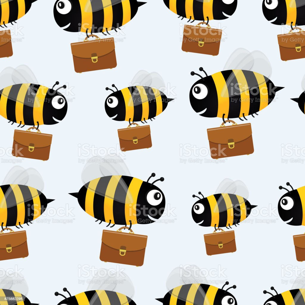 Bees with briefcases. Vector seamless pattern background