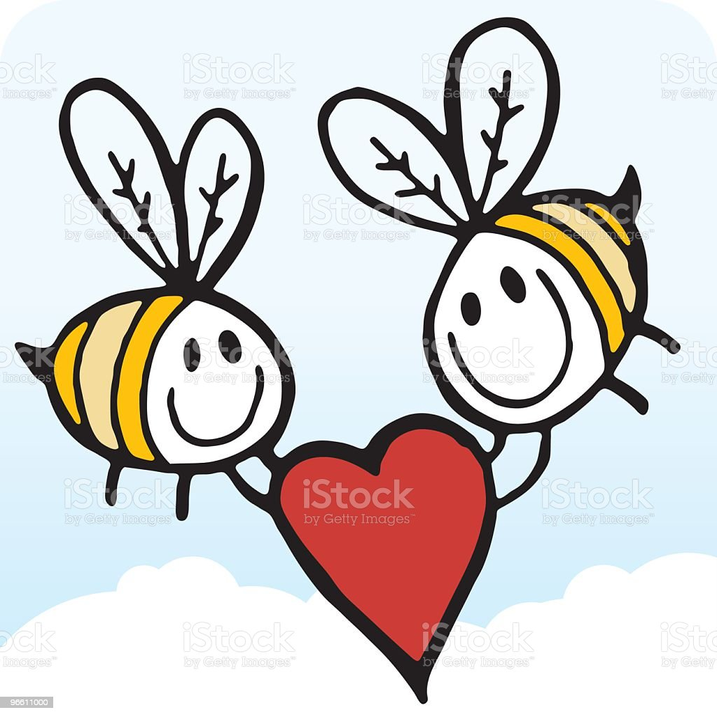Bees with Heart - Royalty-free Animal Themes stock vector