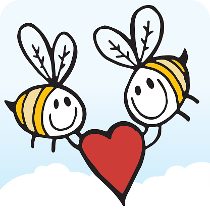 Bees With Heart Stock Illustration - Download Image Now