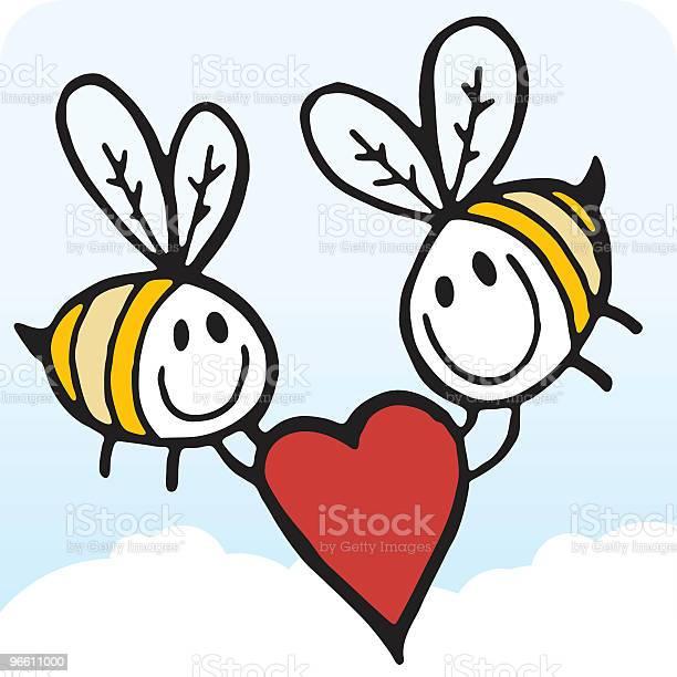 Bees With Heart-vektorgrafik och fler bilder på Alla hjärtans dag