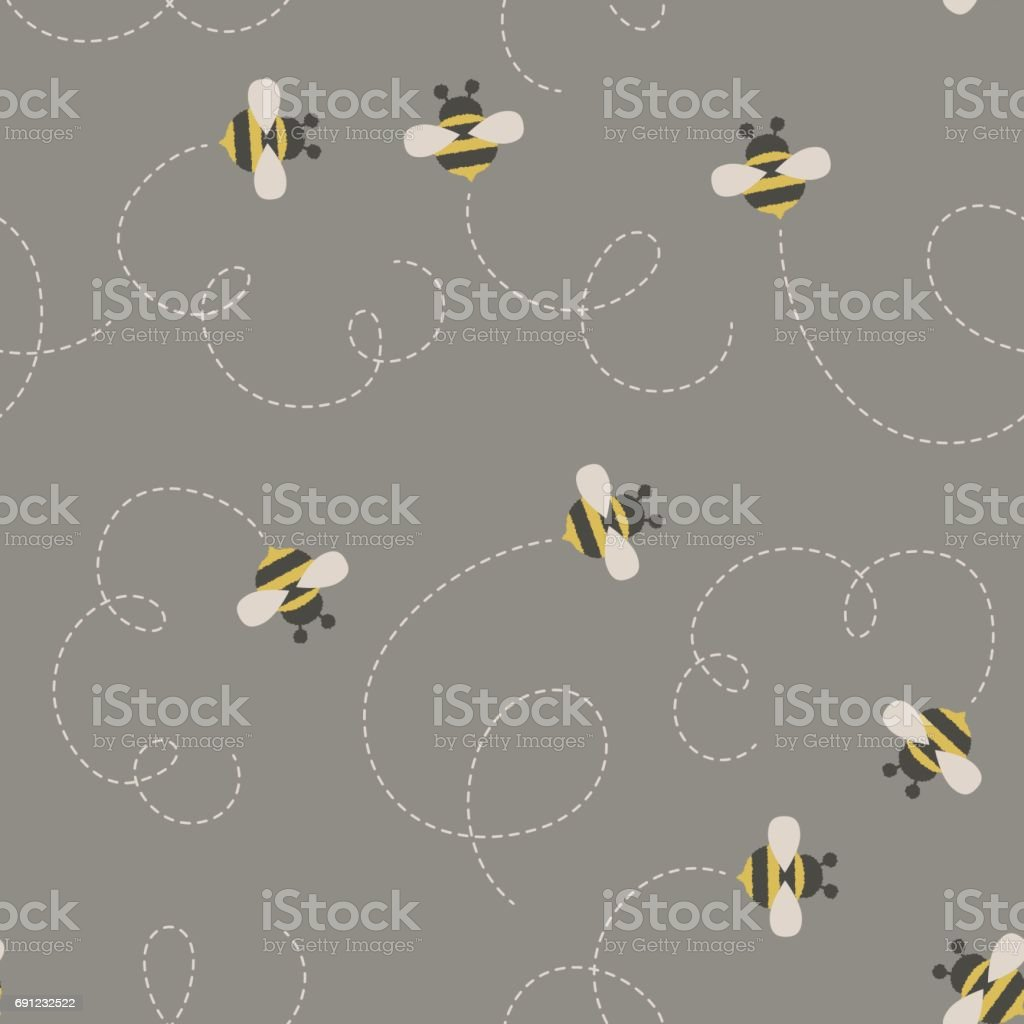 Bees/bumble bees seamless pattern vector art illustration