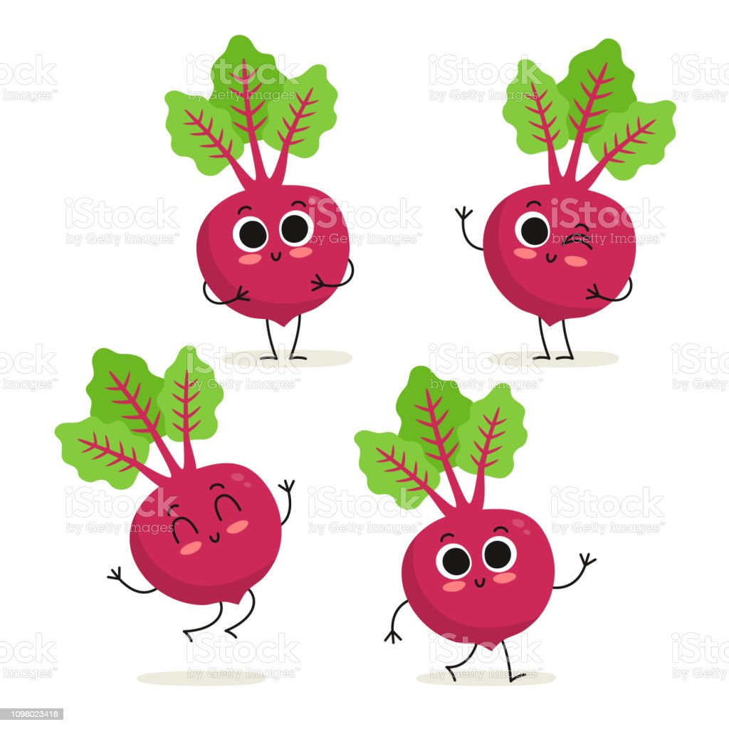 Beet Cute Vegetable Vector Character Set Isolated On White Stock