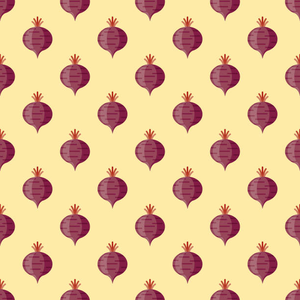 Beet Vegetables Seamless Pattern A seamless pattern created from a single flat design icon, which can be tiled on all sides. File is built in the CMYK color space for optimal printing and can easily be converted to RGB. No gradients or transparencies used, the shapes have been placed into a clipping mask. beet stock illustrations