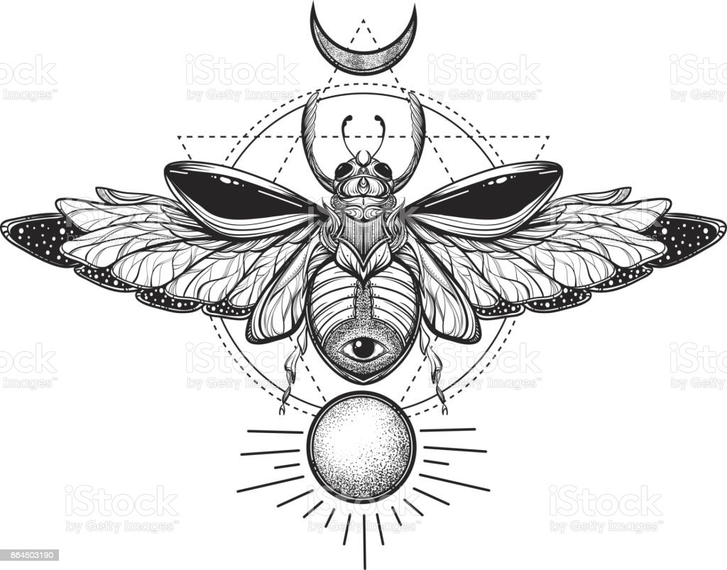 beetle bug tattoo drawing scarab bug illustration on sacred geometry rh istockphoto com scarab beetle tattoo pictures scarab beetle tattoo traditional