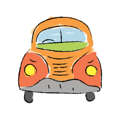 beetle car, hand-drawn vector illustration