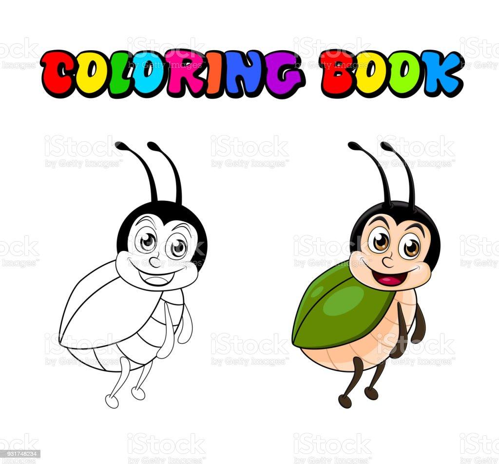 Dibujos Animados De Escarabajo Para Colorear Libro Aislado Sobre ...