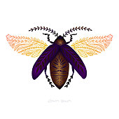 Beetle Flying Insect Logo Stipple Effect. An original artwork vector illustration of multicoloured flying insect on white background.This inspirational flat design can be a logo, postcard, invitation, web banner, shop window, postcard, invitation, poster or flyer.