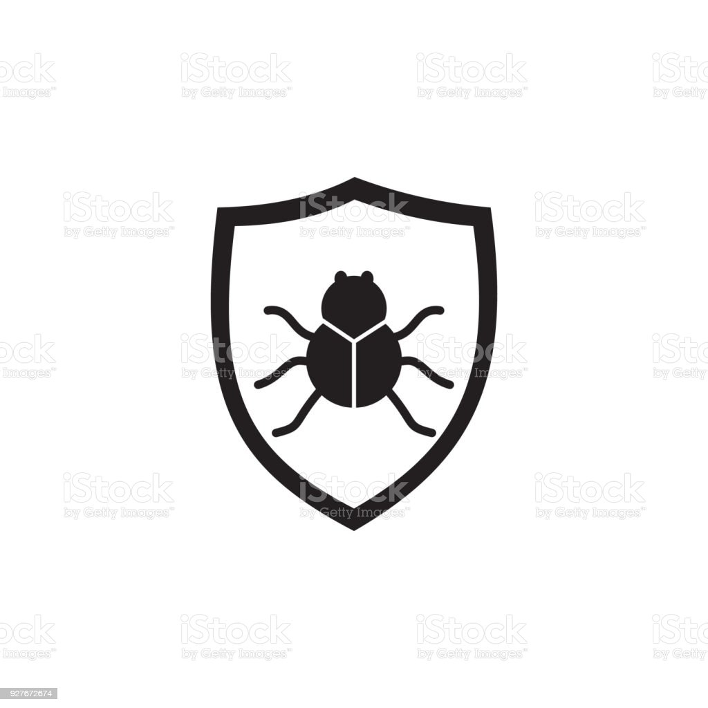beetle in the shield icon. Elements of cyber security icon. Premium quality graphic design. Signs and symbols collection icon for websites, web design, mobile app, info graphics vector art illustration