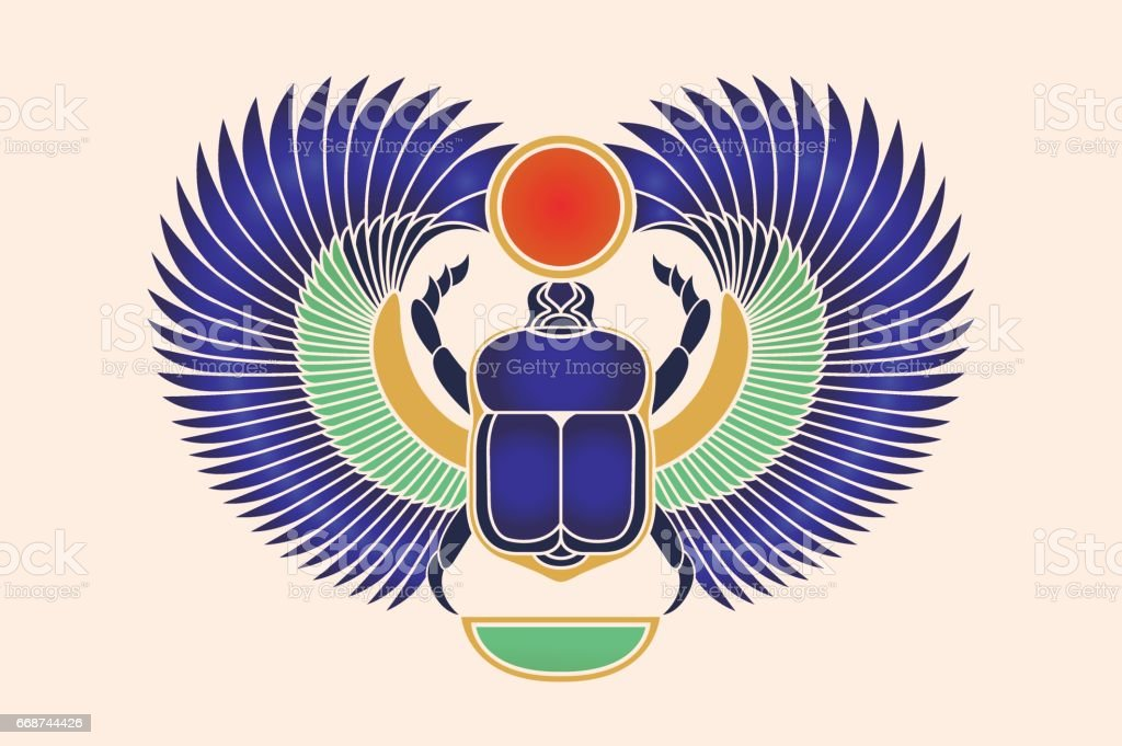 beetle scarab with wings sun and a crescent moon ancient egyptian rh istockphoto com Free Vector Textures Free Vector Flowers