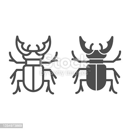 Beetle stag line and solid icon, Bugs concept, Deer beetle sign on white background, Stag-beetle icon in outline style for mobile concept and web design. Vector graphics