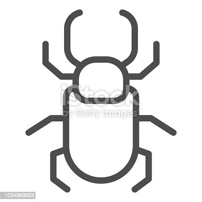 Beetle stag line icon, Insects concept, stag-beetle sign on white background, large beetle with branched jaws icon in outline style for mobile concept and web design. Vector graphics