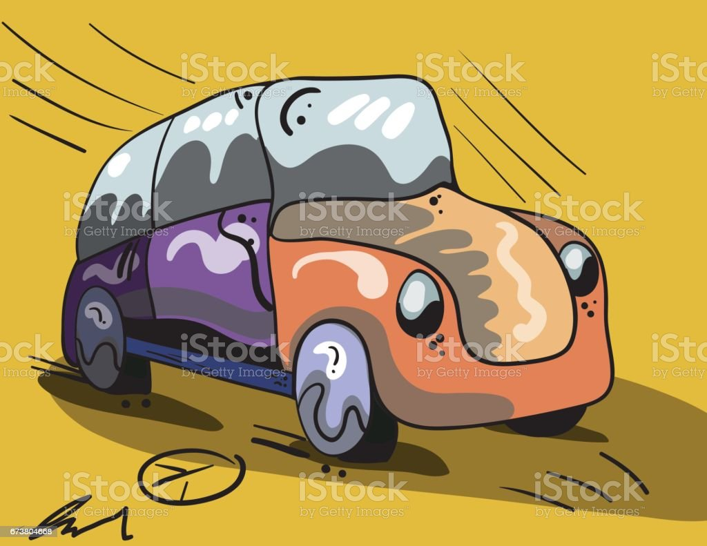 VW Beetle with Peace Signs and Dripping Paint warm color vector art illustration