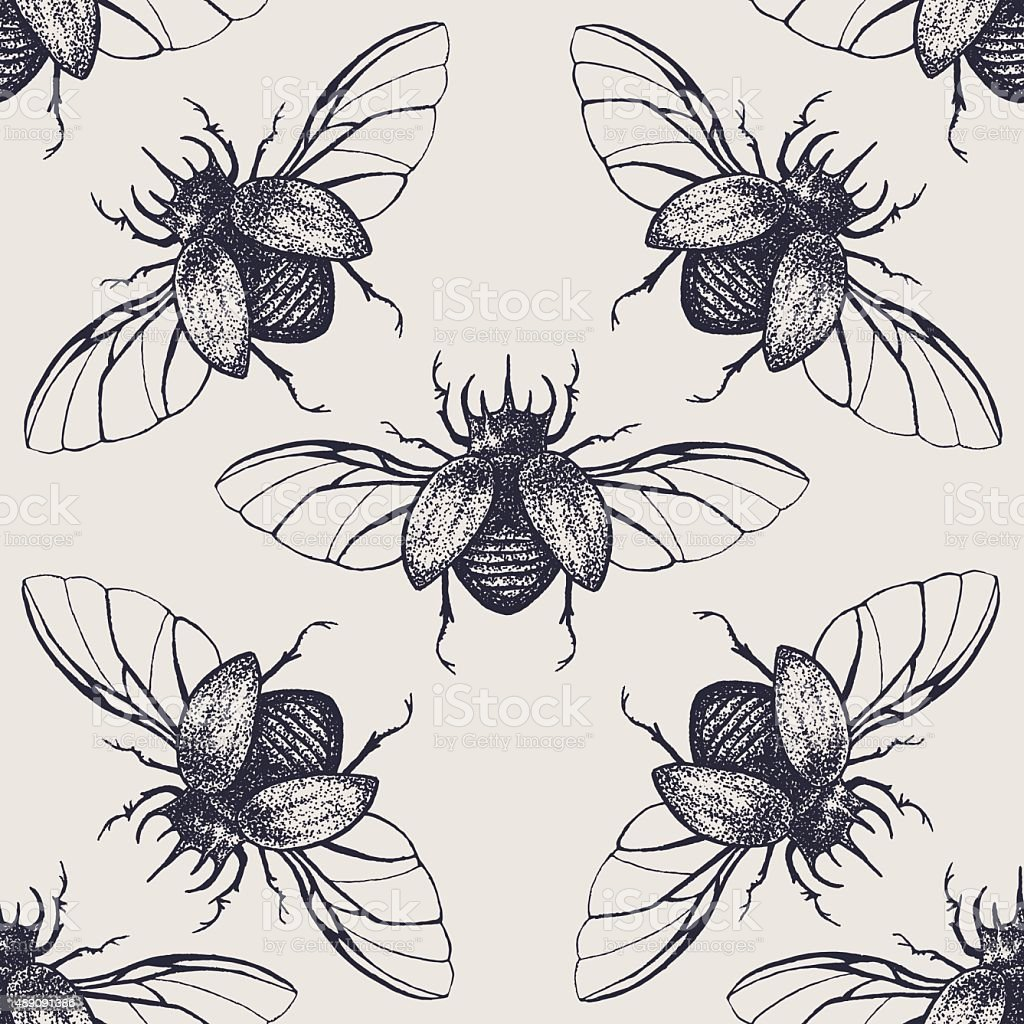 Beetles with wings vintage seamless pattern vector art illustration