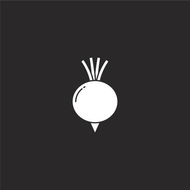 비트 뿌리 아이콘입니다. 웹 사이트 디자인 및 모바일, 응용 프로그램 개발을위한 채워진 비트 뿌리 아이콘. 검은 배경에 고립 된 채워진 과일 컬렉션에서 비트 뿌리 아이콘. - 잘 익은 stock illustrations