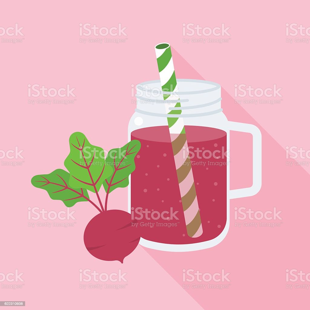 Beetroot smoothie in mason jar glass vector art illustration