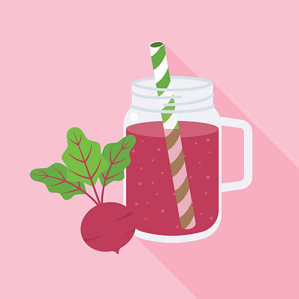 Beetroot smoothie in mason jar glass vector art illustration