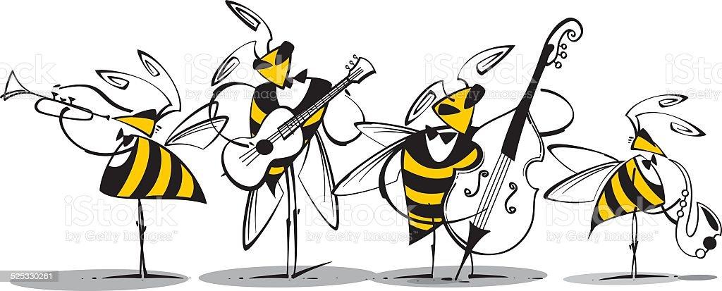 Beez Jazz Band vector art illustration