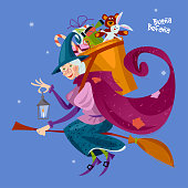 Befana. Old woman flying on a broomstick with a basket of gifts for children. Italian Christmas tradition.