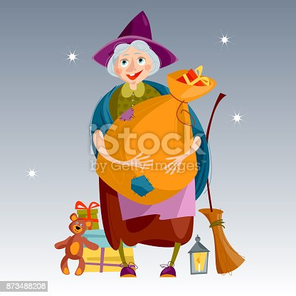 befana old woman with bag of gifts and a broom italian christmas tradition stock vector art more images of adult 873488208 istock - Italian Christmas Witch