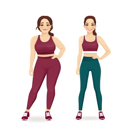 Fat and slim woman, before and after weight loss in sportswear vector illustration isolated