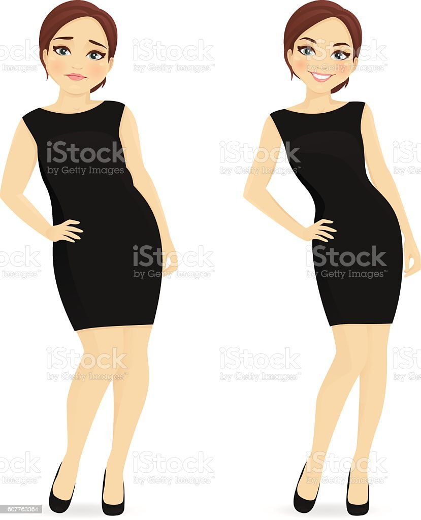 Before and after diet woman vector art illustration