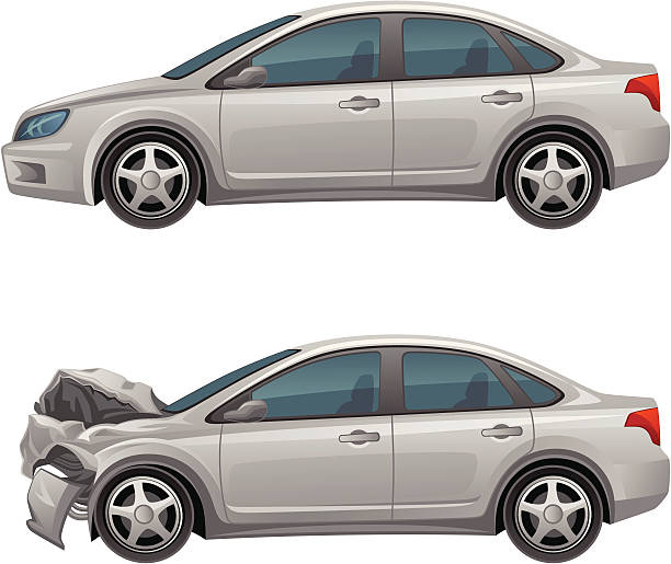 bildbanksillustrationer, clip art samt tecknat material och ikoner med before and after pictures of the cars damages - krockad bil