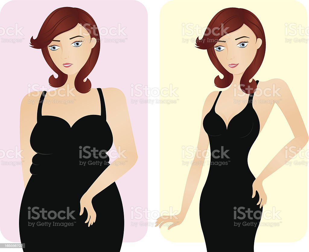 Before and after slimming royalty-free stock vector art