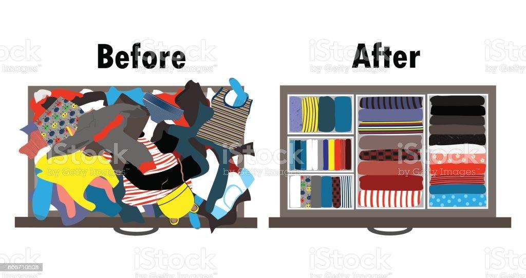 Vor Und Nach Der Kinder Kleiderschrank In Schublade Aufräumen