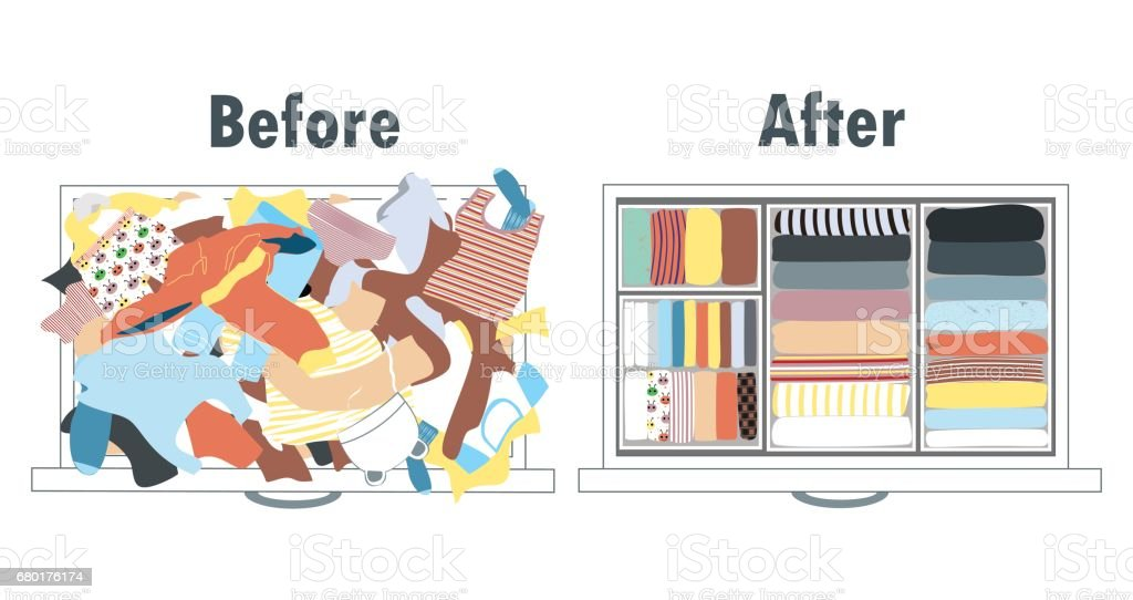 Before and after tidying up kids wardrobe in drawer. Messy clothes and nicely arranged clothes in piles. vector art illustration