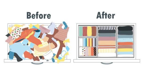 ilustrações, clipart, desenhos animados e ícones de antes e depois de arrumar o guarda-roupa de crianças na gaveta. roupas bagunçadas e roupas bem arranjadas em pilhas. - pilha arranjo