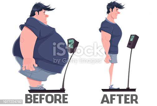 Illustration of a man weighing himself, showing him before, with him overweight and then with the ideal weight, showing weight loss.