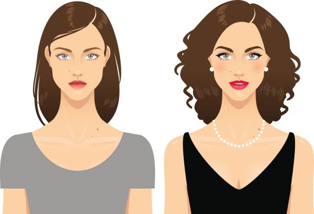 Before and after Young woman's face before and after makeup and hairdo, isolated on a white background. beautiful woman stock illustrations