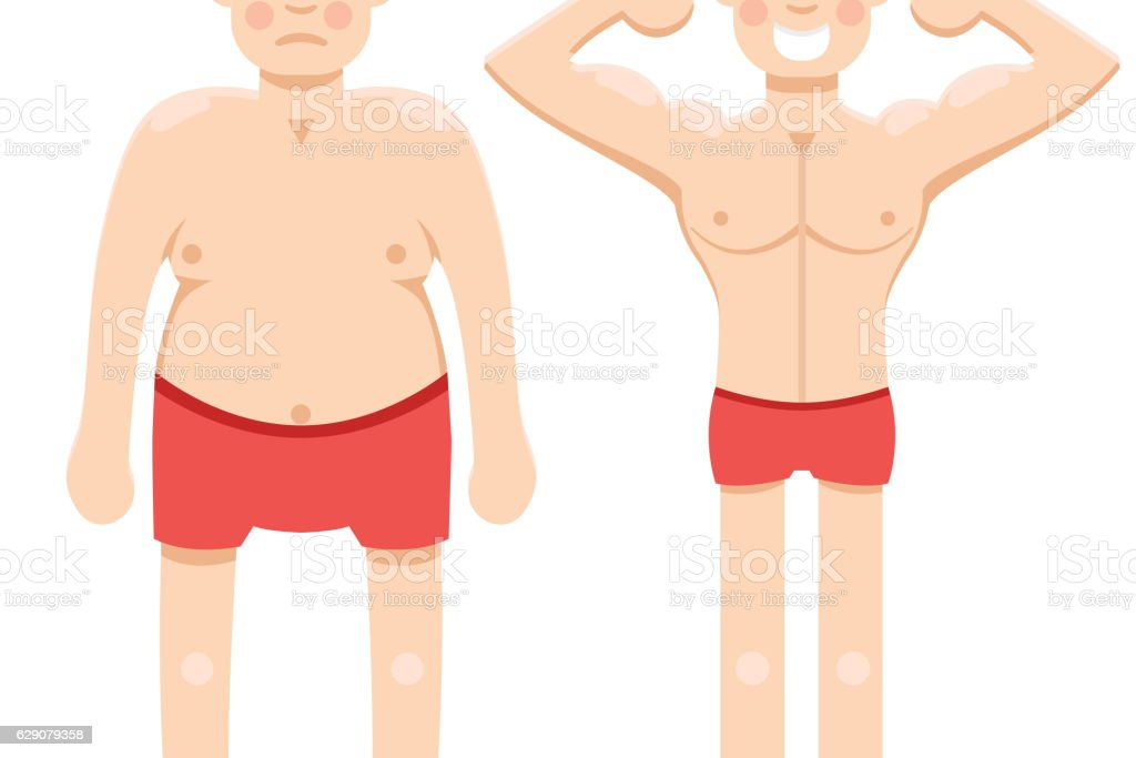 Before and after weight loss half vector art illustration