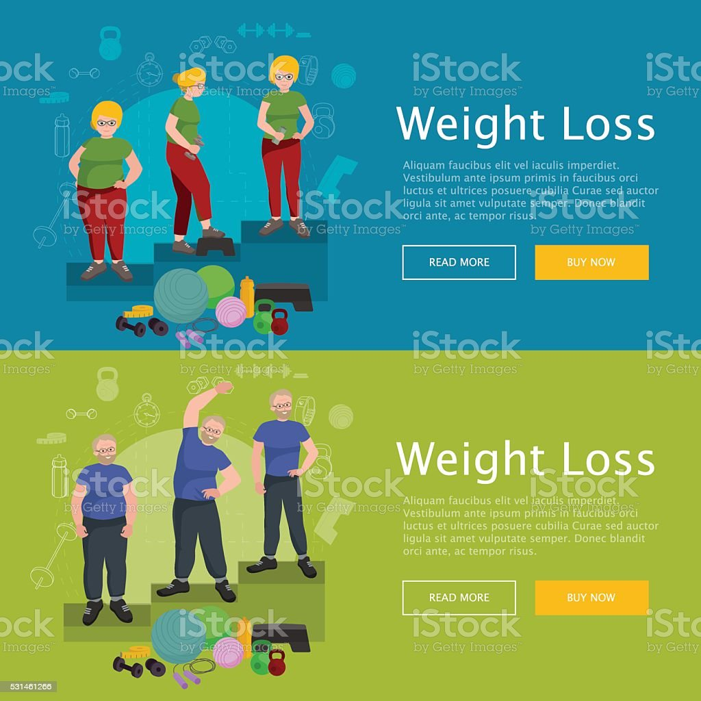 Before And After Weight Loss Senior Concept Fitness Vector