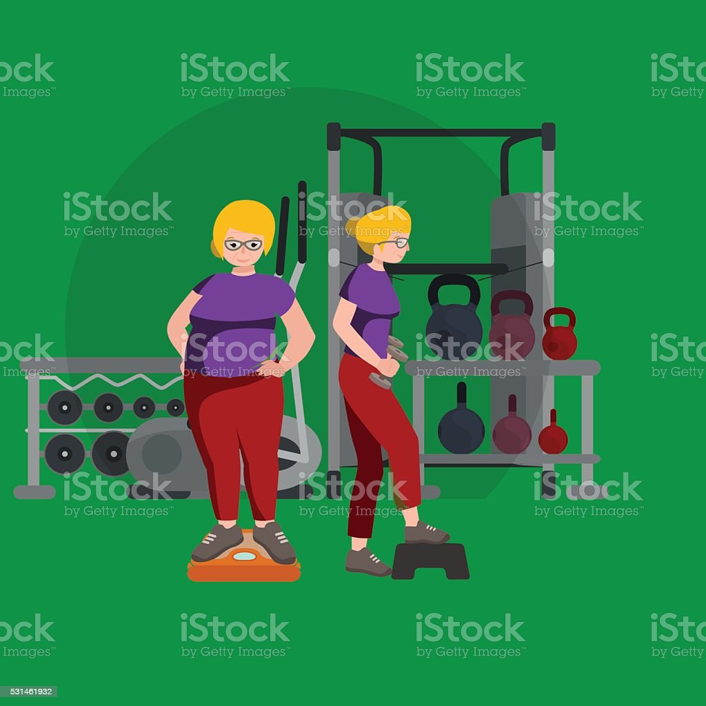 before and after weight loss women concept fitness vector illustration vector art illustration