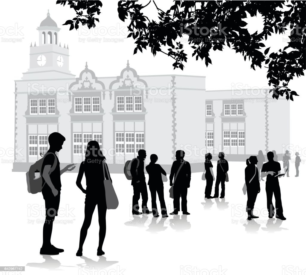 Before The Bell School vector art illustration