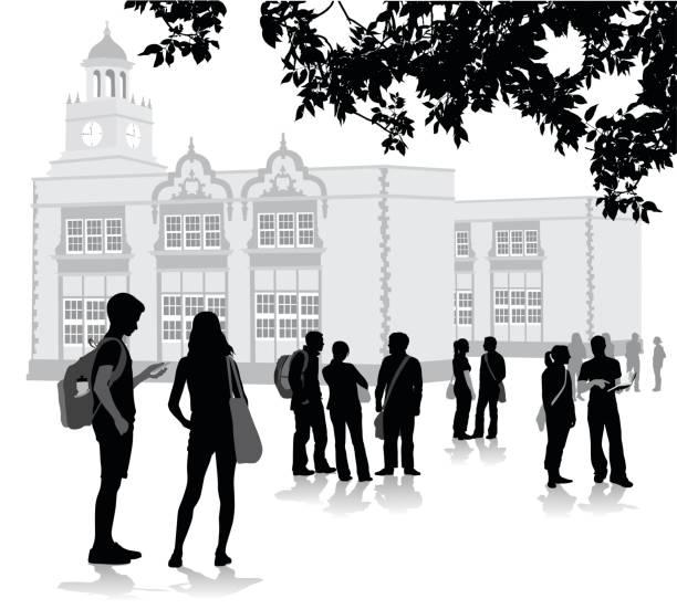 illustrazioni stock, clip art, cartoni animati e icone di tendenza di before the bell school - compagni scuola