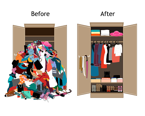 Before untidy and after tidy wardrobe. Messy clothes thrown on a shelf and nicely arranged clothes in piles and boxes.