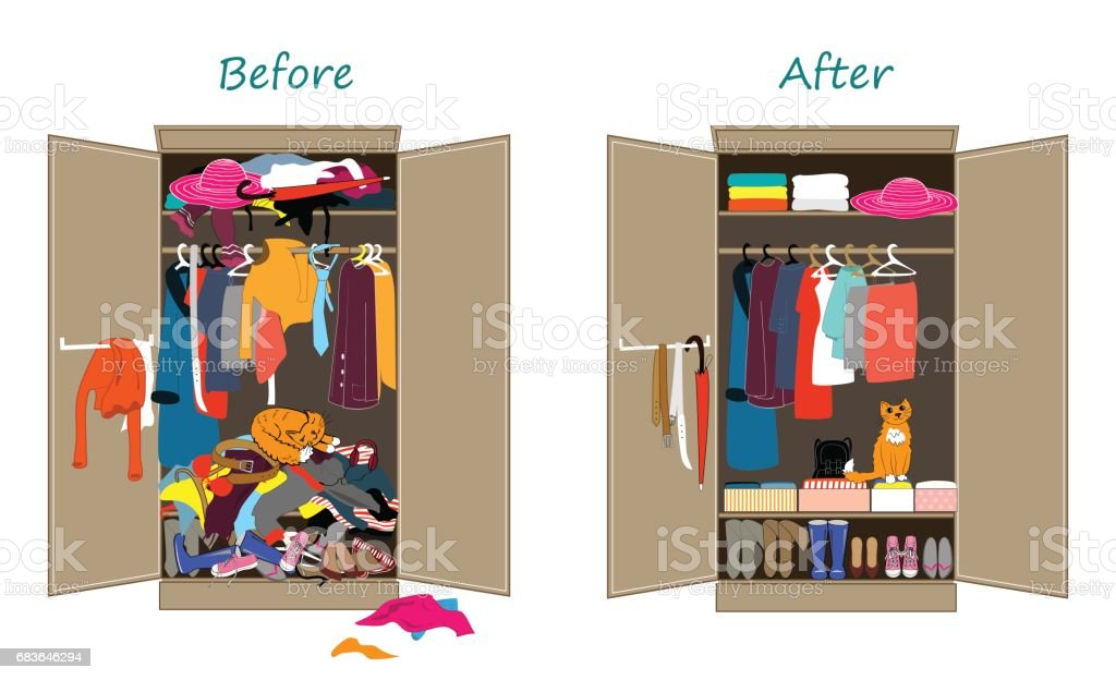 Before untidy and after tidy wardrobe. Messy clothes thrown on a shelf and nicely arranged clothes in piles and boxes. vector art illustration
