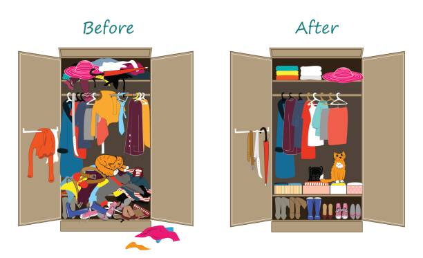 illustrazioni stock, clip art, cartoni animati e icone di tendenza di before untidy and after tidy wardrobe. messy clothes thrown on a shelf and nicely arranged clothes in piles and boxes. - disordinato