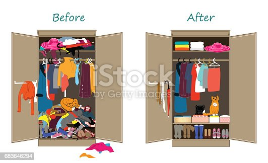 before untidy and after tidy wardrobe messy clothes thrown