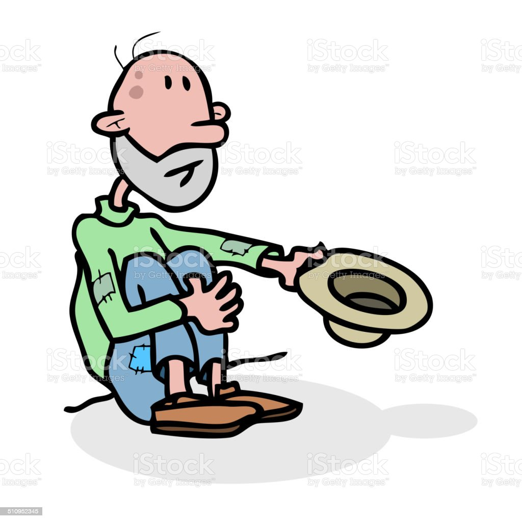 Beggar homeless alone with hat. vector art illustration