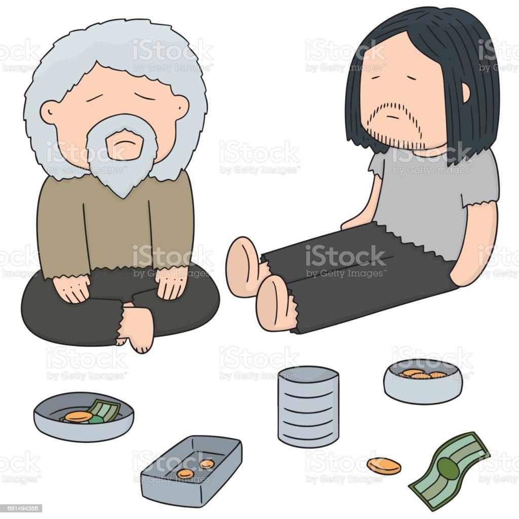 beggar vector art illustration