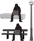 """A vector silhouette illustration of a homless young man sitting on a bench in a street with a sign reading """"anything helps"""" beside a lampost."""