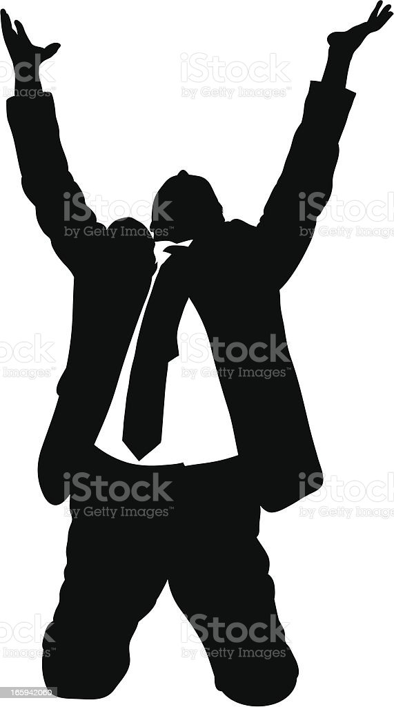 Begging businessman in black and white vector art illustration
