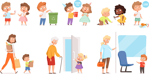 Behaving kids. Childrens with good manners helping to adult and otherness helpful respect vector characters