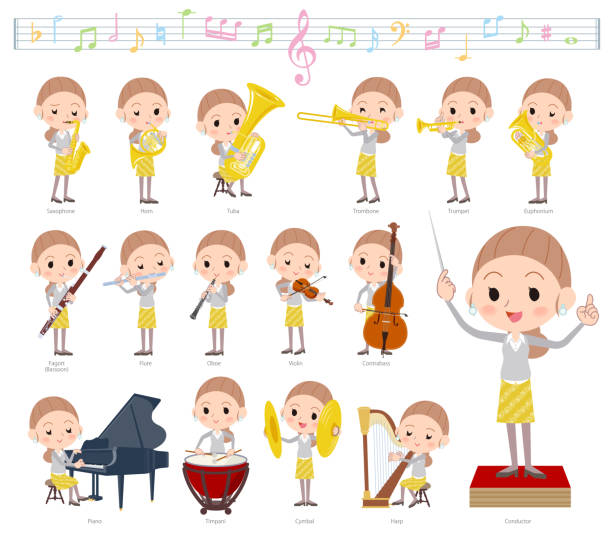 illustrazioni stock, clip art, cartoni animati e icone di tendenza di behind knot hair yellow wear women_classic music - orchestra conductor behind