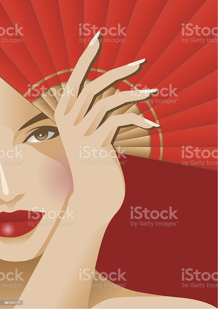 Behind Red Fan royalty-free stock vector art