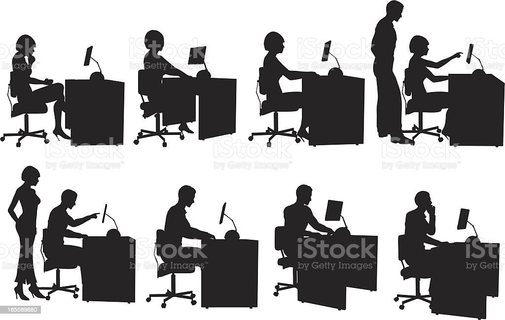Behind the computer royalty-free behind the computer stock vector art & more images of adult