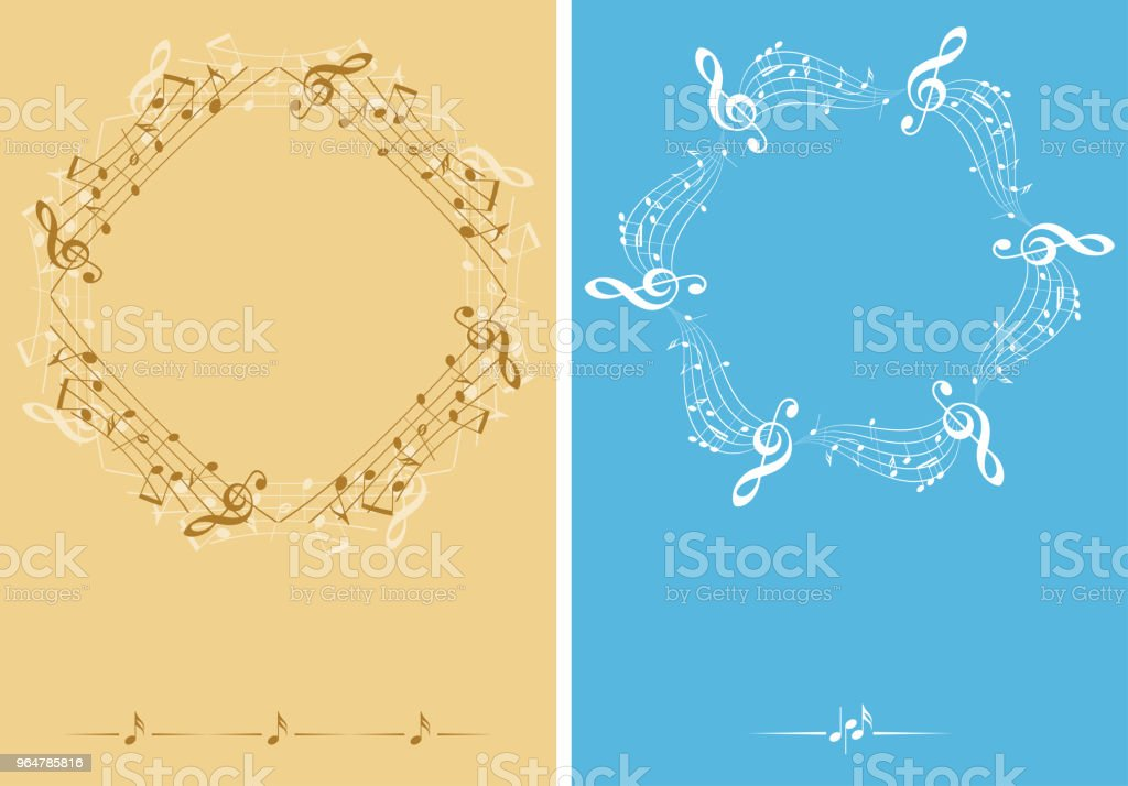 beige and blue music decorative leaflets - vector backgrounds royalty-free beige and blue music decorative leaflets vector backgrounds stock vector art & more images of abstract